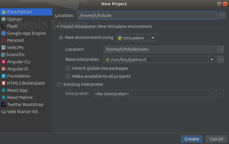 pycharm new project